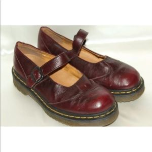 Doc Dr Martens burgundy perf leather Mary Janes